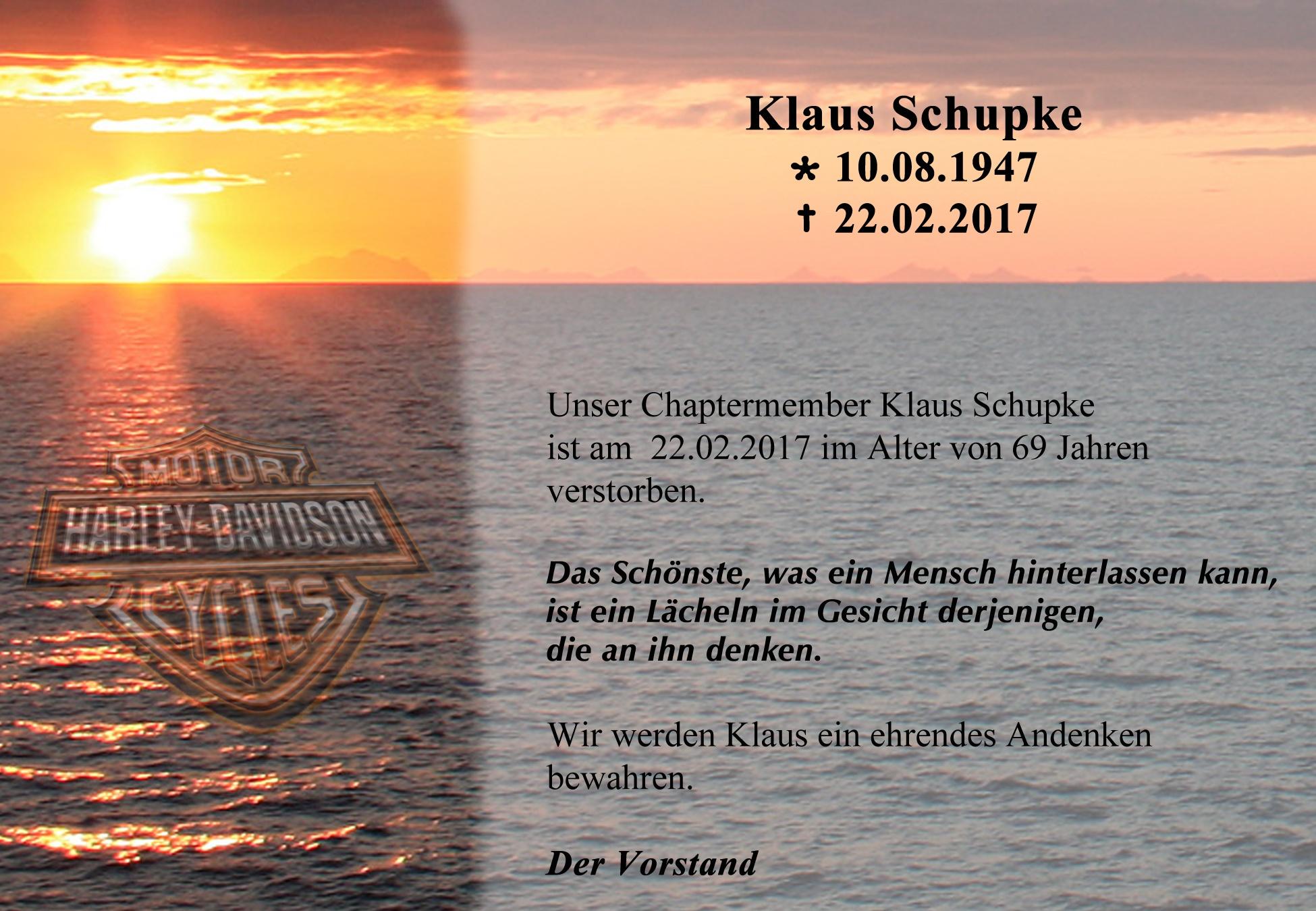 Nachruf Klaus Schupke