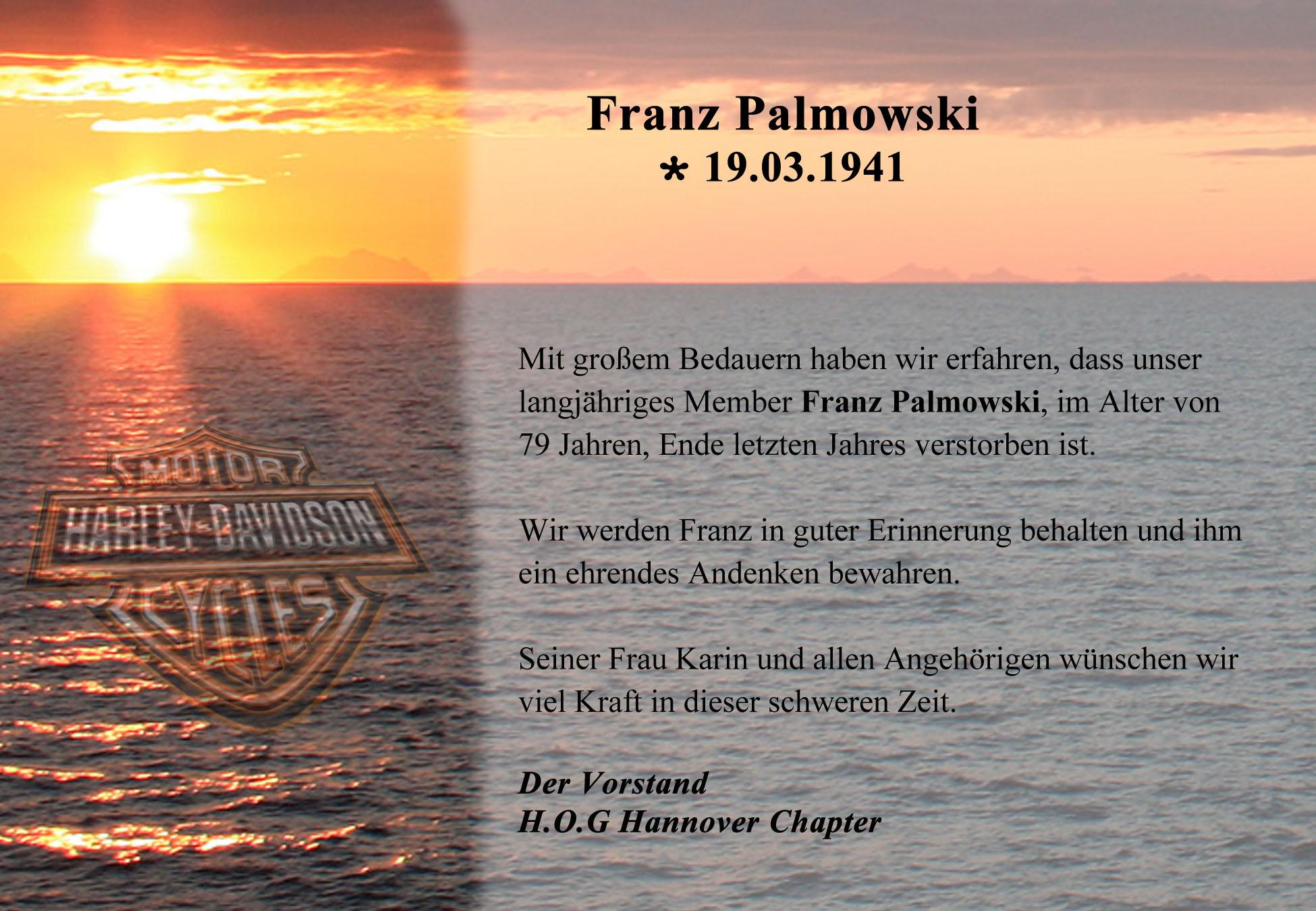 Nachruf Franz Palmowski